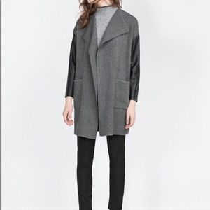 Zara Faux Leather Sleeve Jacket